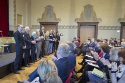 Das Team der KAUSA Servicestelle Brandenburg stellt sich bei der Auftaktveranstaltung des Projekts im Cottbuser Stadthaus vor